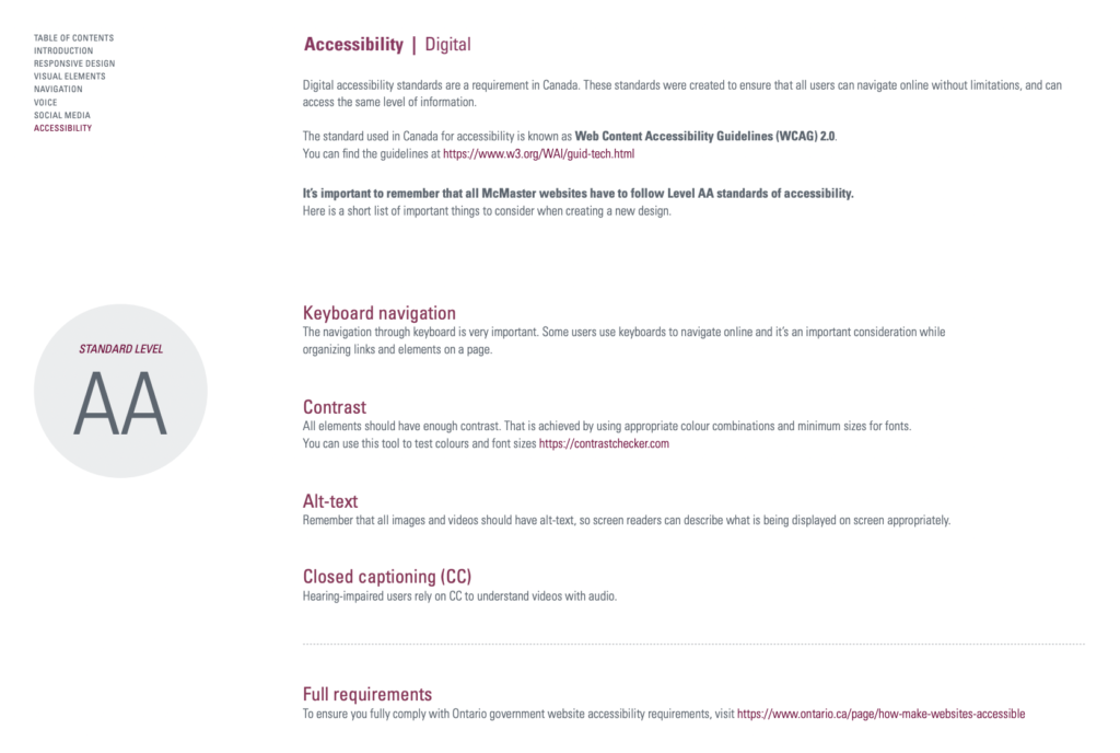 a screen shot of a one page accessibility guide.